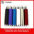 china supplier big battery e cigarette ego 1500mah twist custom electronic cigarette battery
