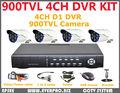 4ch cctv independiente dvr kit 900 con líneas de tv cámara resistente al agua