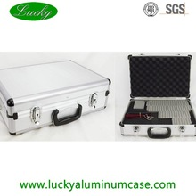 Factory price aluminum camera case with dividers and shoulder strap