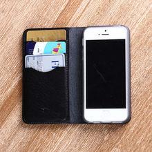 Matt black leather case for iphone 5 5s 6 mobile case genuine leather wholesale holder wallet card holder