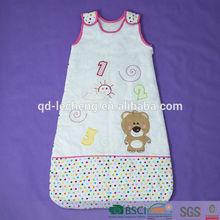 100% cotton baby animal winter sleeping bag with embroidery, baby sleeping bag