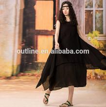 2014 Summer new design plus size irregular long black ladies simple fashion dress