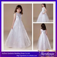 2014 New Arrival Floor Length A-line Sleeveless Organza White Flower Girl Dresses for Wedding (ZX112)