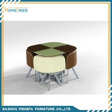 Modern design colorful glass dining table set/dining room furniture