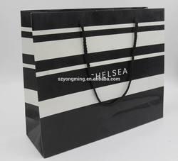 stripe black white custom art paper bag for shopping promotion