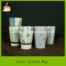 11oz in-glazed stoneware handpainted gift mug with flower design hot selling