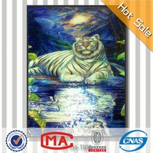 HFJY-JH-TI08 best selling lively tiger design fabric wall murals handmade glass mosaic tile wall mural artist 3d animal pictures