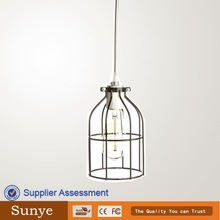 Vintage Iron Cage Edison bulb cage for modern black glass chandelier