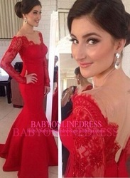 High Quality Wholesale China Supplier Women Formal Fishtail V-Neck Low Back Mermaid Red Celebrity Long Sleeve Lace Evening Gown