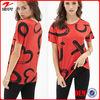 Aztec printing round neckline blouse / Tulip hem lady garment factory