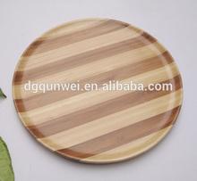 Colore naturale di bambù pasto piastra, pasto piatto di legno circolare