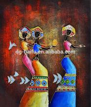 handmade custom design indian women textured portrait oil painting