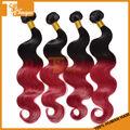 2014 venda quente 2pcs/set 12 5a polegadas corpo wave cabelo feixes de dois tons de cor 1b vermelho bordeaux vinho brasileiro cabelo humano virgem