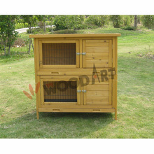 Simple bulky wooden waterproof two storey rabbit cage