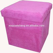 Rose Red Square Micro Fiber suede Folding Storage Ottoman