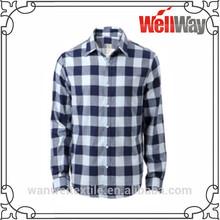 2015 wholesale latest cheap blue white check plaid cotton flannel shirts for men