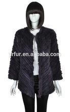 Cappotto di inverno/donne caldo vero cappotto di pelliccia del coniglio/cappotto in maglia/all'ingrosso e al dettaglio