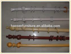 Contemporary Bay Window Decorative Wooden Curtain Rod Poles Set