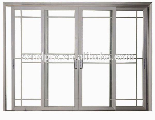 exterior double glass aluminum sliding door grill design On double sliding doors exterior