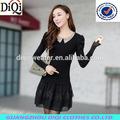 Ladies preto baile elegante patchwork vestido de uma peça, Alta qualidade new arrival item com manga comprida