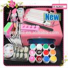 UV GEL KIT Pro 36W UV GEL Pink Lamp & 12 Color UV Gel Nail Art Tool Kits Sets