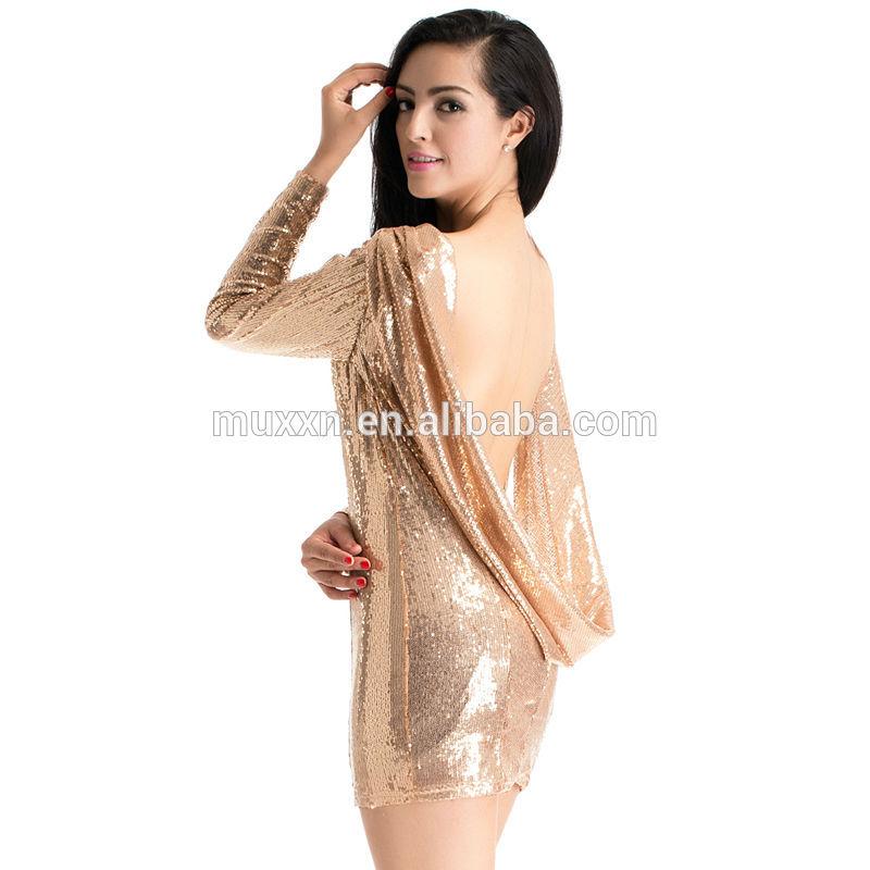 Atacado mais novo mulheres Sexy Bodycon Club Party brilhante preto lantejoula ouro Backless vestido de noite