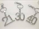2014 Fashion Crystal Zine Alloy Number Key Chain