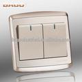 250 V 10 A 2 Gang 1 Way interruptores de pared eléctrico con neón, acero Sainless al panel, interruptores de pared eléctrico marca BAGO