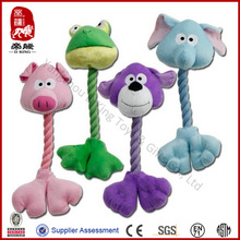 China manufacturer SEDEX ICTI BSCI WCA SA8000 audit factory plush rope toys with squeaker for pet- pig, elephant, frog, dog