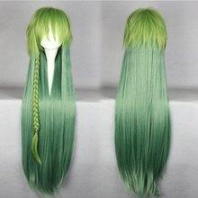 100cm long Amnesia-UKYO green multi color straight Anime costume Wig