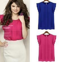 2014 New European style Woman Chiffon Blouse Shirts OL Lady Round Collar Sleeveless Ruffles Tops fashion chiffon blouse G0535