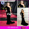 E771 Celebrity One Shoulder Sleeve Beading Short Train Black Long Sleeve Velvet Evening Dresses