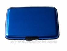 rfid de aluminio azul de diseño de los hombres de metal logotipo de crédito de la tarjeta de negocios titular de la uso