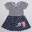 (H4641) 2-6Y Peppa pig stirped white polka dot kids cotton frocks design