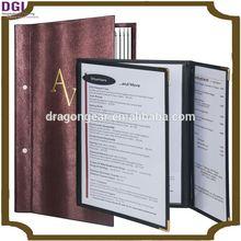 exquisitely gentle design genuine newest leather menu cover for hotel , OEM company list / metal menu holder
