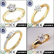 Wholesale fashion 22k gold white zircon engagement ring
