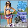 printed swimwear fabric/blue white striped fabric