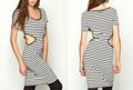2015 listras pretas e brancas midriff outfit sul de meia-idade lady vestuário / vestido homecoming ( LY0156 )