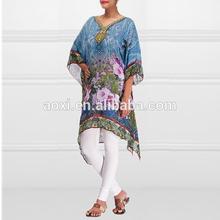 Wholesale printed floral patterns tunics dresses blue kaftan style pakistani designer long kurtis 2015