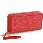 cheap genuine crocodile leather wallet factory large capacity double zippers purse on stock new products 2014