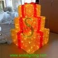 2015 - caja de regalo acrílica con luces LED, luz de motivos navideños, luz de decoración para interiores o exteriores