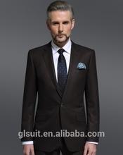100%wool one button notch Lapel dark brown 3 piece suit