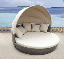 rattan round outdoor lounge bed with canopy