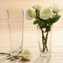 cheap handblown square glass vase for flower arrangements