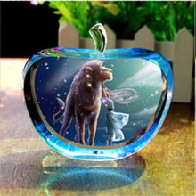 Crystal Ball With Half Apple Shape Nice Gift Home Decoration