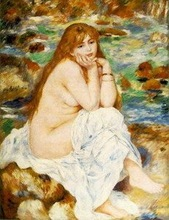 High quality Impressionist portrait painting of naked woman Renoir