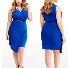 plus size asymmetric Wrap purple short evening Dress for fat women