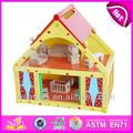 2015 new kids madeira casa de boneca de brinquedo, doce estilo mini brinquedo de madeira casa de bonecas e venda quente colorido casa de boneca atacado wj276682