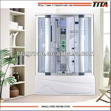 modern luxury steam shower room with whirlpool bathtub
