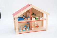 wooden toy people doll house with furniture